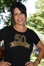 50 & Fabulous Birthday Rhinestone glitter shirt  S M L XL XXL1X 2X 3X 4X 5X gold