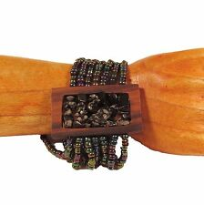 "2"" Black Peacock Color Stone Chip Wood Stretch Handmade Seed Bead Bracelet"