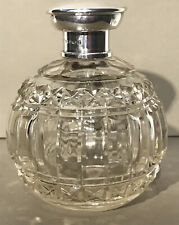 More details for hallmarked birmingham cut glass perfume/scent bottle solid silver lid
