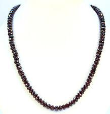 granate tallado en Facetas cadena piedras preciosas Collar Auténtico 49cm