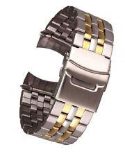 Acero Inoxidable Bicolor Rundanschluss 5-reihig 22mm Correa Reloj de Repuesto