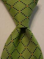 GIAMPIERO Cravatte Men's Silk Necktie ITALY Designer Geometric Green/Blue EUC