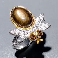 Black Star Sapphire Ring Silver 925 Sterling Handmade12x8mm Size 8.5 /R128983
