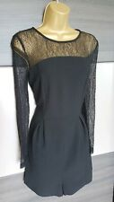 Topshop black playsuit lace sleeves shorts size 10 party sexy