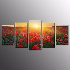 FRAMED Canvas Prints Poppy Flower Canvas Paintings Wall Art For Home Decor-5pcs