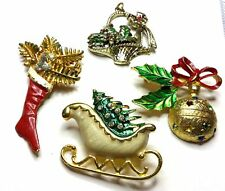 LOT OF 4 VINTAGE Rhinestone Enamel Christmas Sleigh Tree Pins Brooches Jewelry E