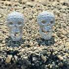 Halloween Men's 2Ct Genuine Moissanite Skull Screw Back Stud Earrings 925 Silver