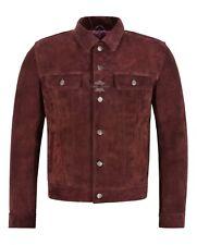 Men's Trucker Leather Jacket Cherry Suede Casual Fashion Biker Style Jacket 1280