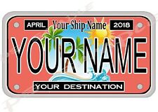 4x7 Custom Cruise Door Magnet - LICENSE PLATE # 1 - any ship, any cruise line
