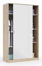 Armario ropero para dormitorio 2 puertas correderas color blanco mate y roble