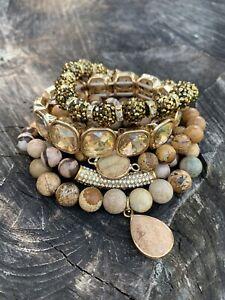 Free Shipping Women golden Crystal picture jasper stone Bracelets 5 pcs/lot set