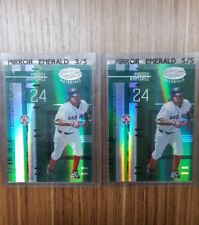 LOT (2) 2005 MANNY RAMIREZ LEAF CERTIFIED MIRROR EMERALD GREEN MARBLE SP 3/5 5/5