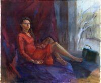 """Russischer Realist Expressionist Öl Leinwand """"Akt"""" 120x100 cm"""