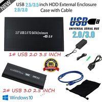 "2.5/3.5"" Sata USB 2.0/3.0 Hard Drive HDD Enclosure External Laptop Case Cable AS"