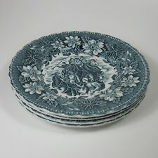 Royal Tudor Ware COACHING TAVERNS Bread Plates Set of 4 Teal Green Blue Plate