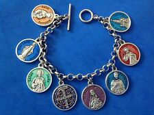 ENAMEL Religious Saint Medal Charm Bracelet Lot PRAYERS Stainless Steel 7.5""
