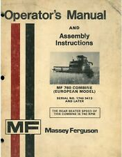 Massey Ferguson Combine MF760 Operators Manual - MF 760 ORIGINAL MANUAL