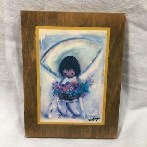 Ted De Grazia Flower Boy Decoupage Plaque Hanging Wooden Picture 5 x 7 Vtg 1970s