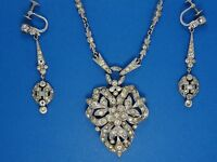 RARE 30's CROWN TRIFARI ALFRED PHILIPPE KRUSSMAN ART DECO NECKLACE EARRINGS SET
