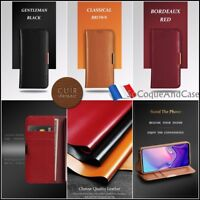Etui Cuir Véritable coque Genuine Leather case Samsung Galaxy S10, S10e, S10+