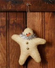 Primitive Grungy Plush Snowman Star Ornament
