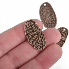 10 Copper Drop Charms, Textured Oval, 30mm, chs3843