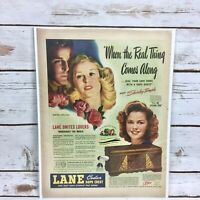 Vintage 1945 Lane Cedar Hope Chest Original Print Ad Featuring Shirley Temple