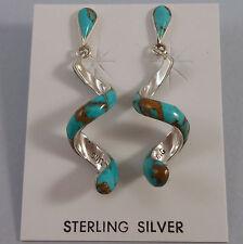 STERLING SILVER TURQUOISE SWIRL POST EARRINGS