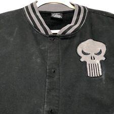 Marvel Adult Bomber Jacket Large The Punisher Skull Logo Black Gray Long Sleeve
