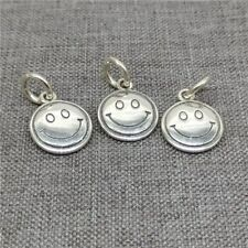 2pcs of 925 Sterling Silver Smile Charms Smiley Pendant for Bracelet Necklace