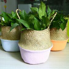 Seagrass Woven Basket Flower Plant Pot Holder Foldable Laundry Storage Organizer