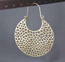 "Gold medallion disc earrings door knocker half hoop circle dangle 2 7/8"" long"