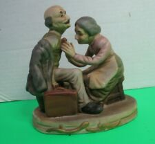 """Vintage Porcelain Figurine Old Woman Fixing Old Man's Tie 5.5"""" Tall 5""""L"""