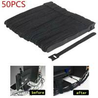 50x/set Black Cable Cord Nylon Strap Hook Loop Ties Tidy Organiser Tool Reusable