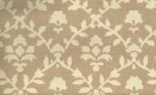 Wallpaper Arts & Crafts Cream Floral Leaf Trellis on Brown Faux