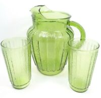 VINTAGE 1960s ANCHOR HOCKING SPRUCEWOOD GREEN GLASS 86 OZ PITCHER 2 TUMBLERS