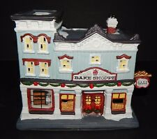 Bake Shoppe Victorian Village Holiday Time Lighted Porcelain Christmas Collector