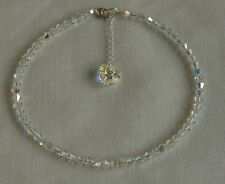 "Sparkly 9.5"" ANKLET STERLING SILVER 925 Clear AB SWAROVSKI Elements CRYSTAL"