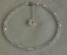 "Sparkly 10"" Anklet Sterling Silver 925 Clear Ab Swarovski Elements Crystal"