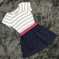 Hanna Andersson Girls Spring Summer Dress Gray Striped Navy Blue Sz 100