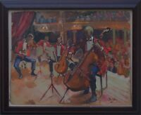 "David Wood ROI ""The Cellist"" & The Orchestra Oil on Card Signed Labels on Verso"