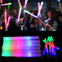 100 PCS Light Up Foam Sticks LED Wands Rally Rave Batons DJ Flashing Glow Stick