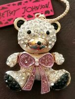 Purple Rhinestone Lovely Bow Bear Baby Pendant Betsey Johnson Chain Necklace