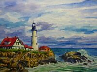 Watercolor Painting Ocean Waves Lighthouse Beautiful Seascape Nature ACEO Art