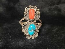 Navajo Handmade Sterling Silver Turquoise Cotal Ring Size 7.25 -Freida Martinez
