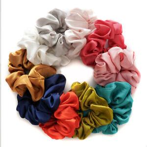 Solid Color Silk Rubber Scrunchies Cloth Elastic Headband Tie Rope Ring Headwear