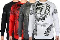 Les Designers Men's L/Sleeve Diamante Lion Print Sweatshirt