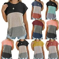 Women Short Sleeve T Shirts Knotted Off-Shoulder Summer Blouse Tops Shirt US