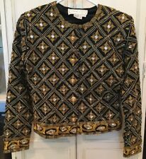 Adrienne Vittadini Women's Medium Black Gold Beaded Blazer Wool Long Sleeve