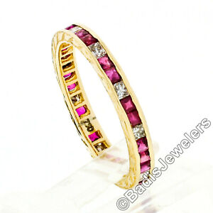 Vintage 18k Yellow Gold Channel French Ruby & Diamond Engraved Stack Band Ring